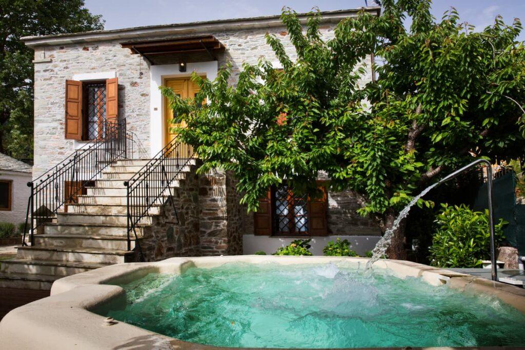 villa with a hot tub