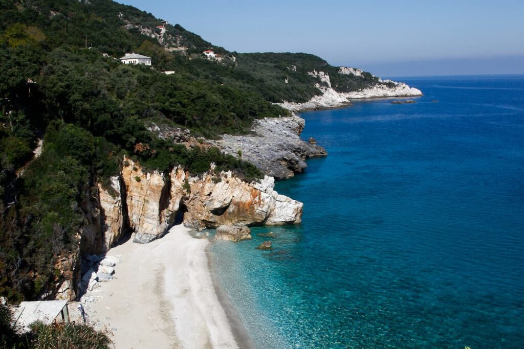 a beach in pelion from above