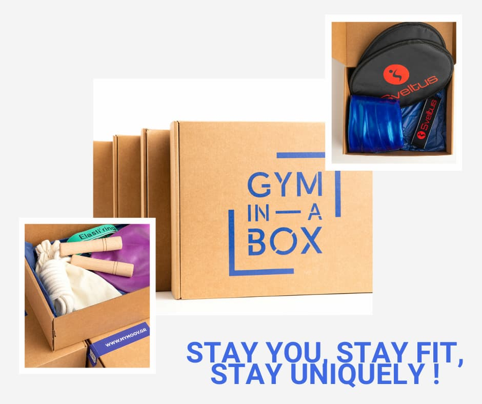 gym equipment and a box